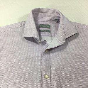 Michael Kors Men's Button Down Shirt White Purple
